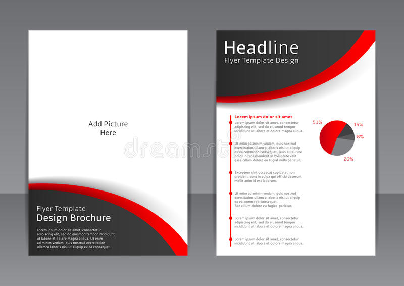 Vector дизайн черно-белой рогульки, крышка, брошюра, плакат, отчет с красными элементами иллюстрация вектора