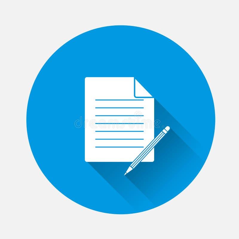 Vector изображение документа с карандашем на голубой предпосылке f иллюстрация вектора