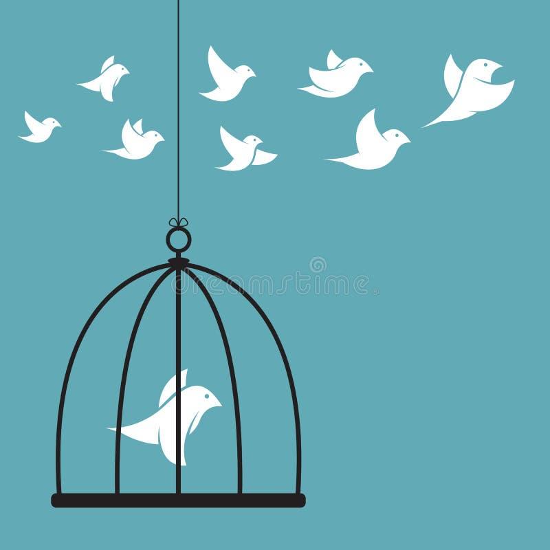 Vector изображение птицы в клетке и снаружи клетка бесплатная иллюстрация