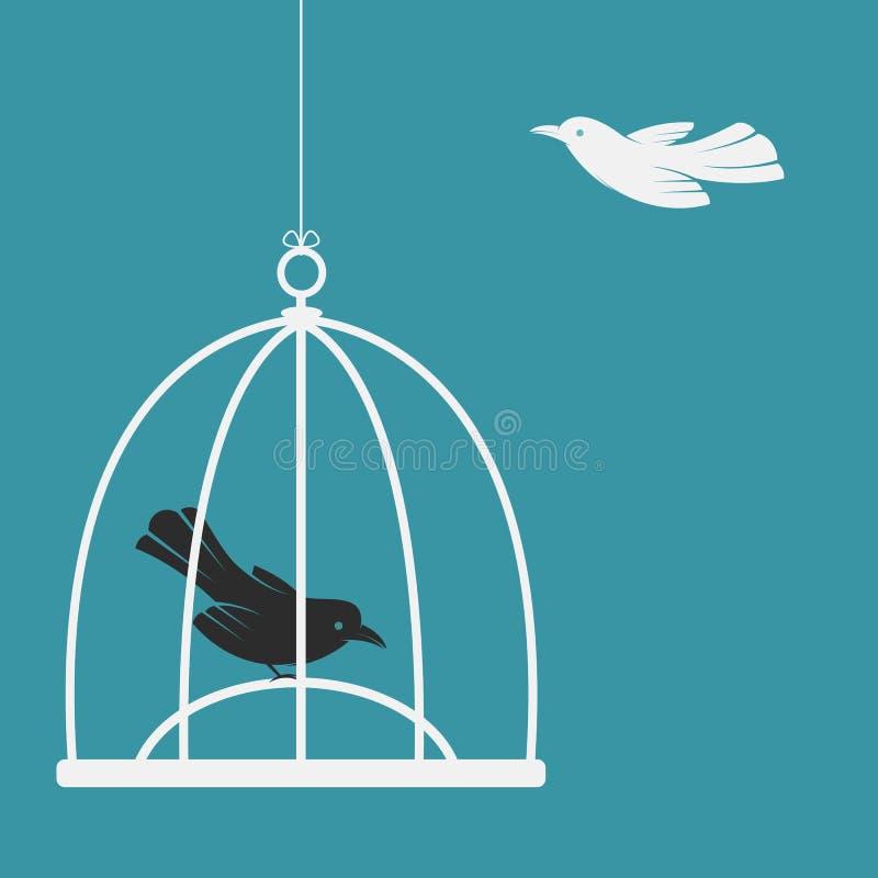 Vector изображение птицы в клетке и снаружи клетка иллюстрация вектора