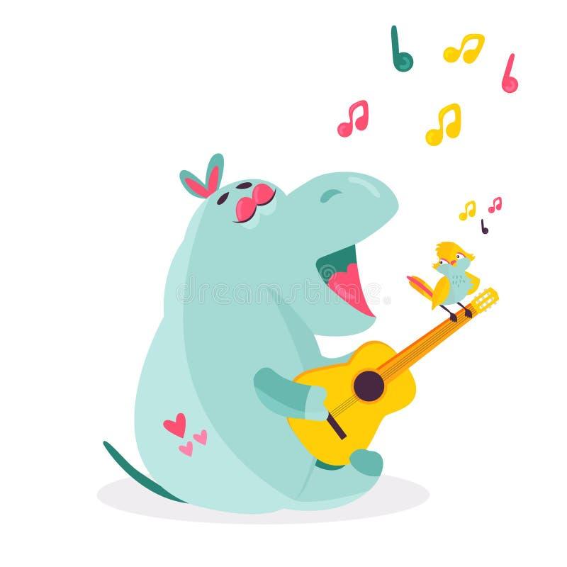 Vector изображение смешного гиппопотама играя гавайскую гитару иллюстрация штока