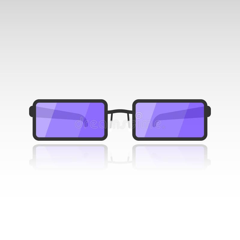Vector изображение солнечных очков с фиолетовыми объективами на белой предпосылке с тенью зеркала от стекел плоско иллюстрация штока