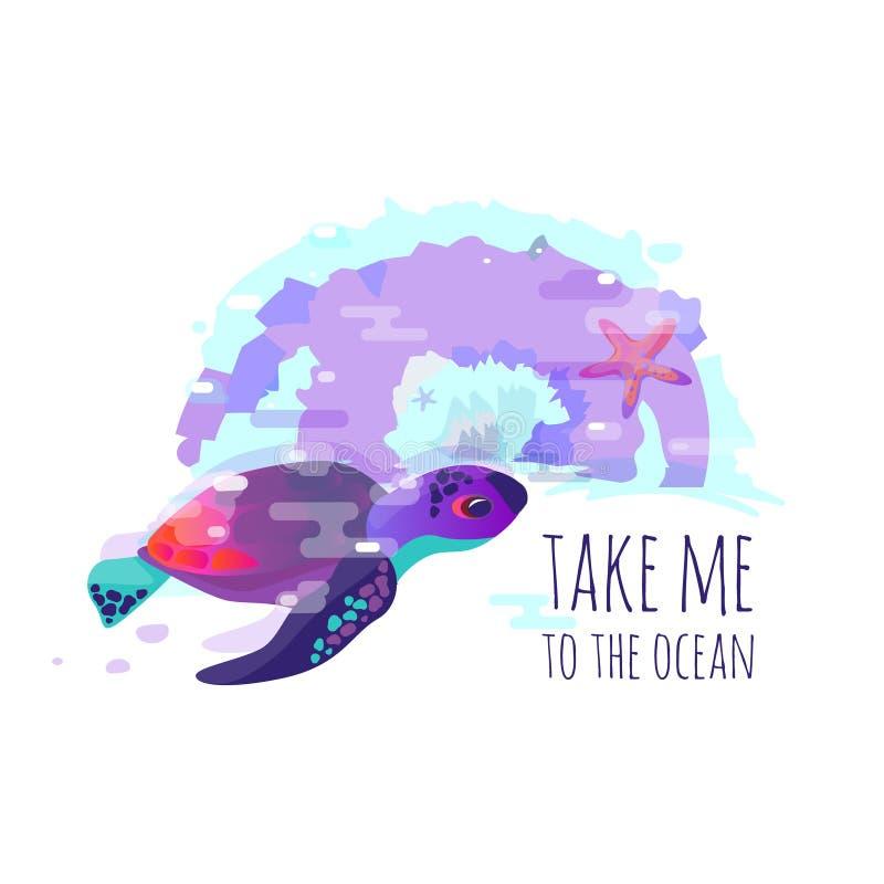 Vector изображение фауны черепахи, морских звёзд или моря Яркий конспект Помечающ буквами ` фразы примите меня к ` океана Названи иллюстрация штока