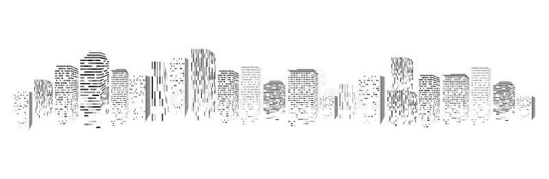 Vector изолированный силуэт большого городка города, небоскребов строя, деловых центров Сумерк, голубой заход солнца, панорама  иллюстрация штока