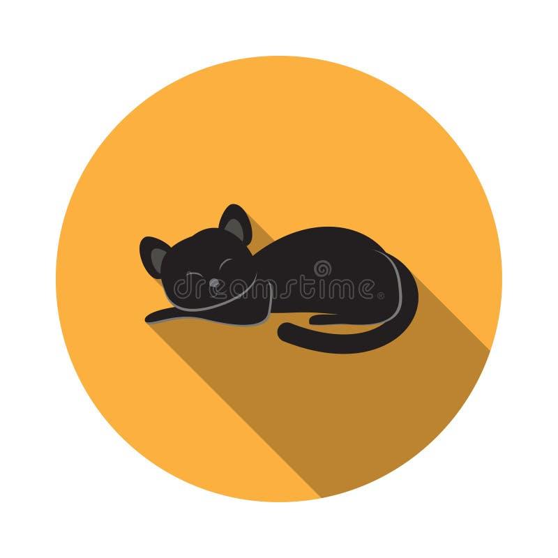Vector изолированный значок черного кота с тенью на хеллоуин иллюстрация штока