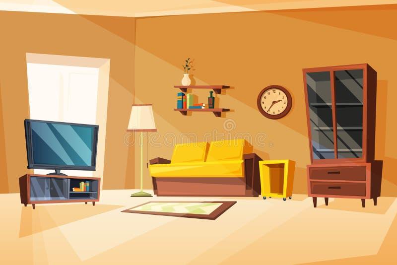 Vector иллюстрации интерьера живущей комнаты с различными деталями мебели бесплатная иллюстрация