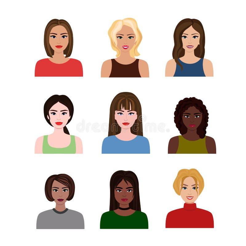 Vector иллюстрации красивых наций маленьких девочек и женщин различных с различной прической Женские воплощения внутри иллюстрация штока