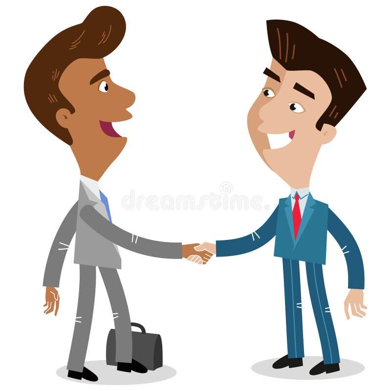 Vector иллюстрация 2 азиатских бизнесменов шаржа тряся руки делая дело иллюстрация штока
