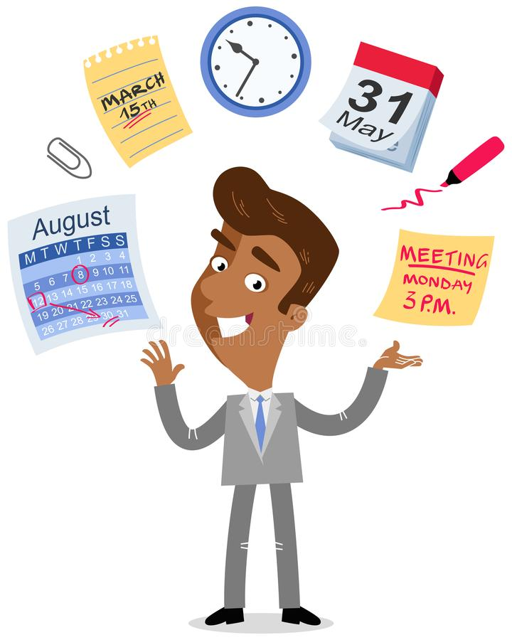 Vector иллюстрация азиатского бизнесмена шаржа жонглируя, значки контроля времени, календарь, план-график, встречая крайние сроки иллюстрация штока