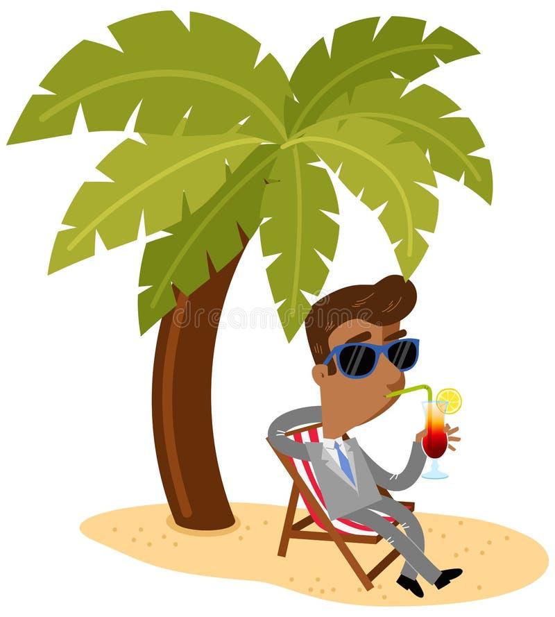 Vector иллюстрация азиатского бизнесмена шаржа sipping коктеиль сидя в стуле холста под пальмой на пляже иллюстрация вектора