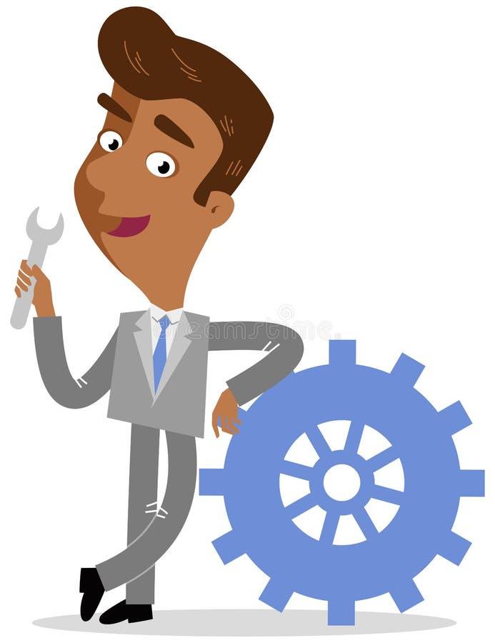 Vector иллюстрация азиатской склонности бизнесмена шаржа на cog держа инструмент винт-ключа бесплатная иллюстрация