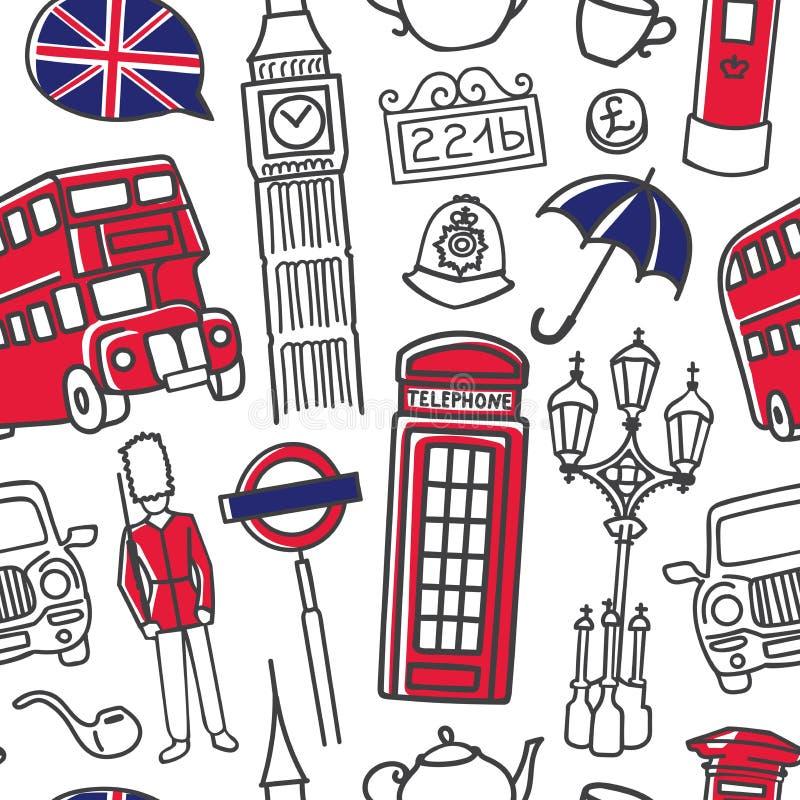 Vector иллюстрация арабского языка в картине bubblesVector речи безшовной с символами Лондона в голубых и красных цветах иллюстрация вектора