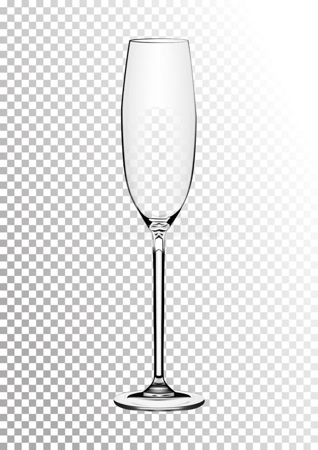 Vector иллюстрация бокала для шампанского или игристого вина в photorealistic стиле Реалистический объект на a иллюстрация штока