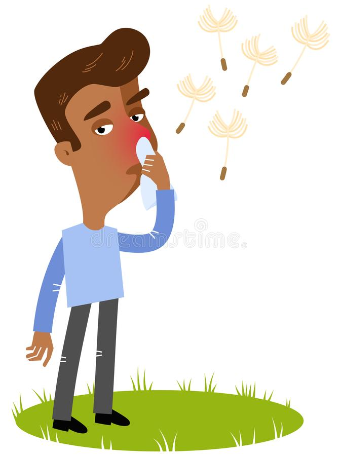 Vector иллюстрация больного азиатского человека шаржа имея аллергию к цветню, страдая от лихорадки сена с тканью иллюстрация штока