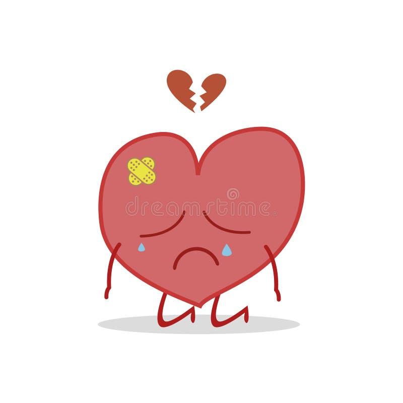Vector иллюстрация больного и унылого сердца иллюстрация вектора