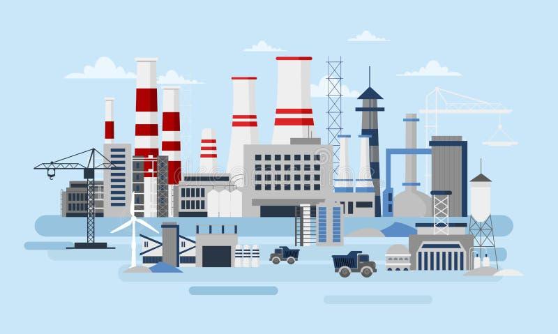 Vector иллюстрация большого изготовителя с много зданиями и автомобилями Концепция экологичности, загрязнение фабрики, индустрия иллюстрация вектора