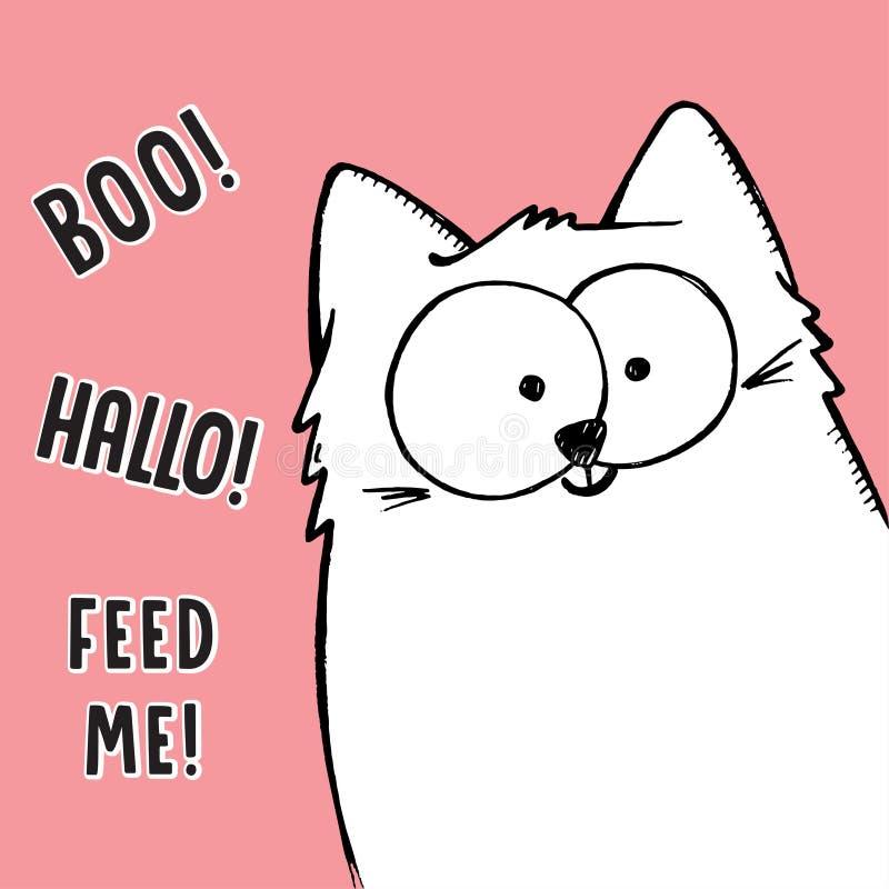Vector иллюстрация большой белой кота эскиза шаржа нарисованного рукой любознательно peeking вне от угла изображения иллюстрация штока