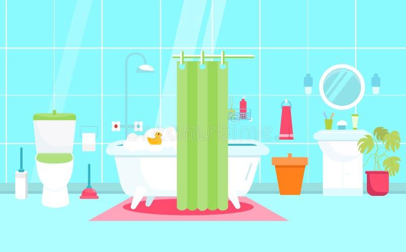 Vector иллюстрация ванной комнаты в плоском стиле с туалетом, уткой Мебель ливня Санитарный интерьер иллюстрация штока