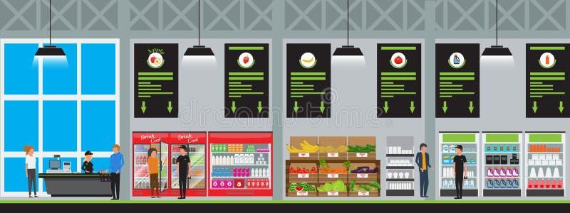 Vector иллюстрация вектора супермаркета внутренняя в плоском стиле с высоко детальным Продукты покупки клиентов на гипер еде бесплатная иллюстрация
