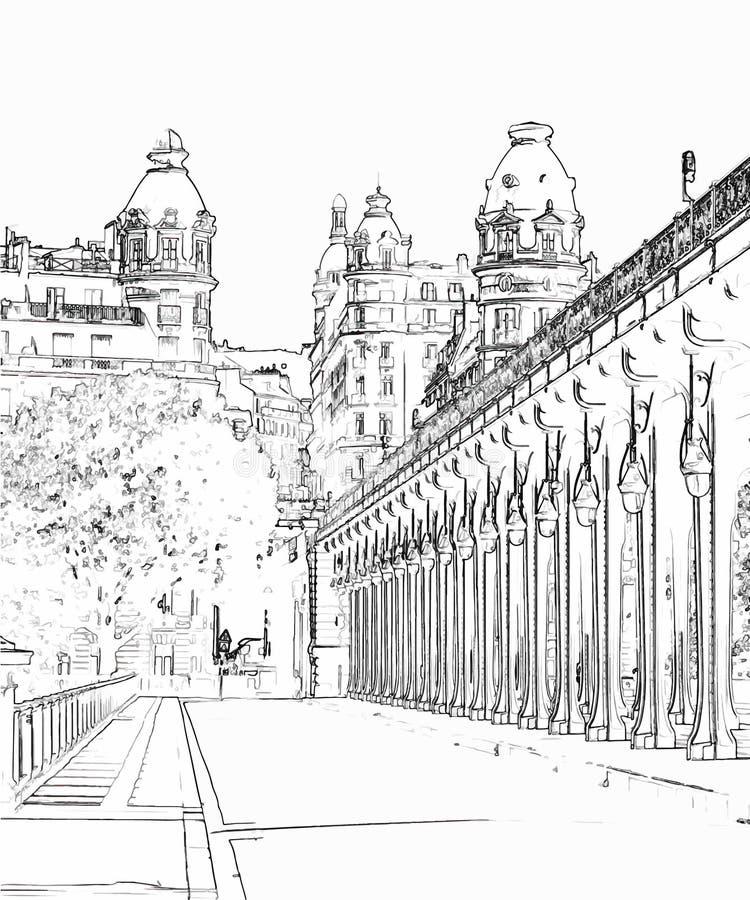 Vector иллюстрация, в стиле эскиза, Pont de Bir-Hakeim - Парижа, Франции иллюстрация штока