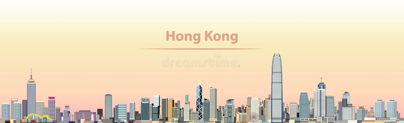 Vector иллюстрация горизонта города Гонконга на восходе солнца иллюстрация штока