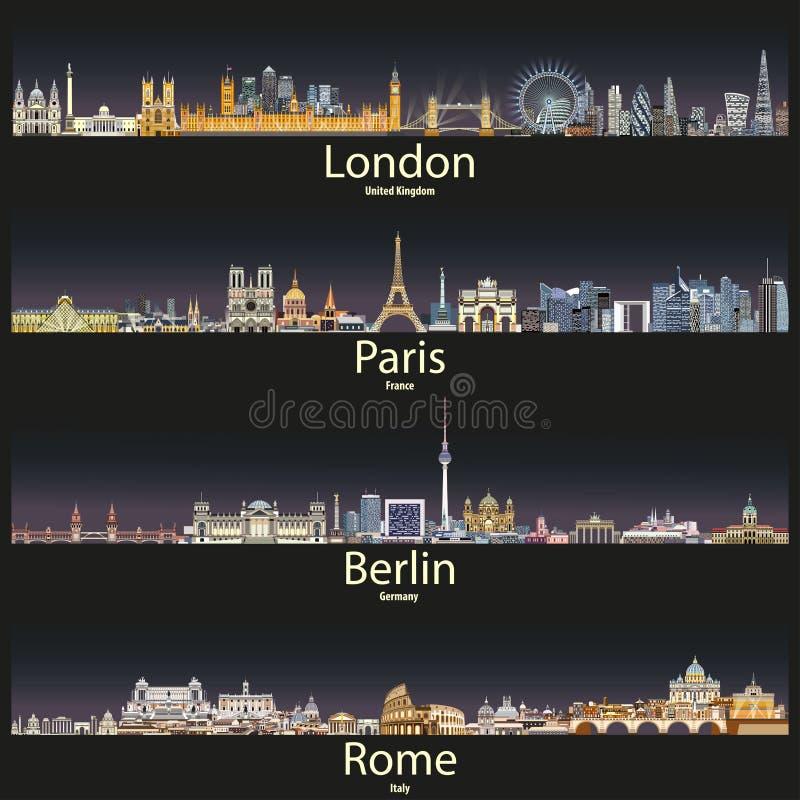 Vector иллюстрация горизонты города Лондона, Парижа, Берлина и Рима на заходе солнца иллюстрация вектора