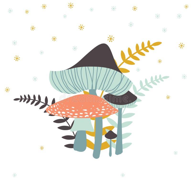 Vector иллюстрация группы в составе грибки с папоротниками Toadstools a иллюстрация вектора