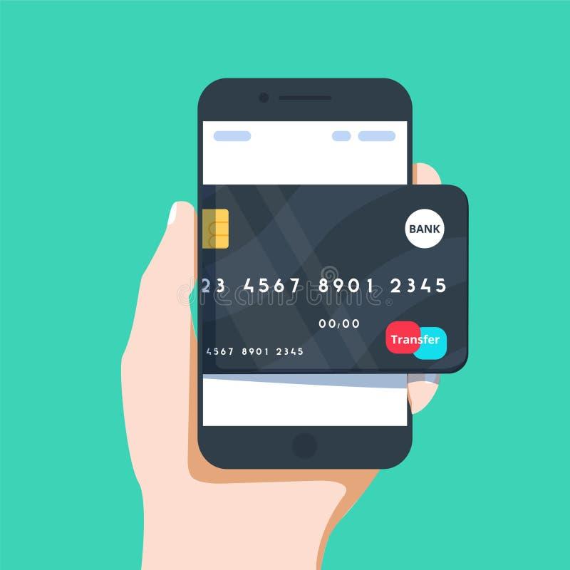 Vector иллюстрация дела руки и мобильного телефона с значком кредитной карточки в плоском стиле иллюстрация вектора