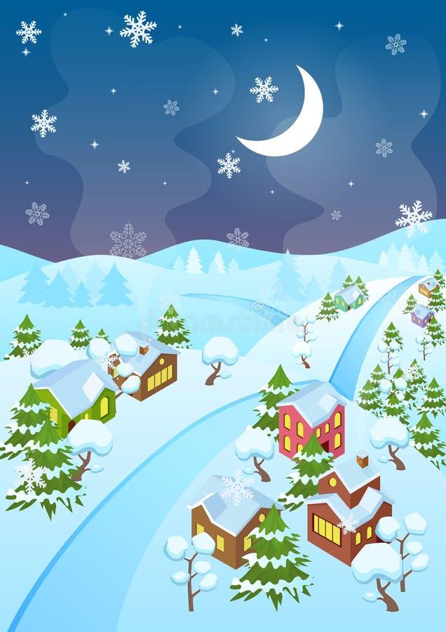 Vector иллюстрация деревни и дороги зимы шаржа на ноче Верхний взгляд перспективы Городок Рожденственской ночи на ноче иллюстрация штока