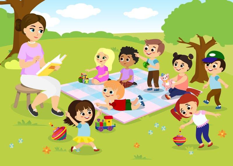 Vector иллюстрация деятельностей при на летнего лагеря, детей играя в парке, учителя детей s книга чтения для бесплатная иллюстрация