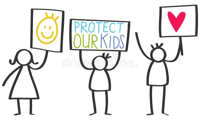 Vector иллюстрация диаграмм ручки задерживая знаки, защитите наших детей, влюбленности иллюстрация вектора