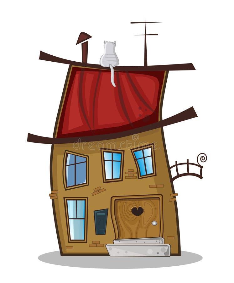 Vector иллюстрация дома милого шаржа смешного маленького фантастичного иллюстрация штока