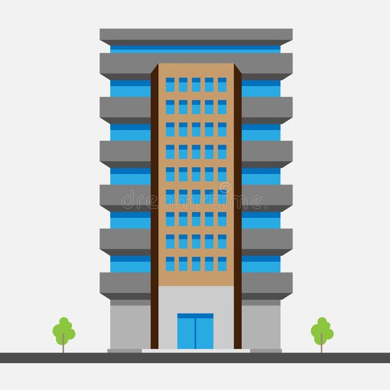 Vector иллюстрация дома с иллюстрацией вектора балконов на белой предпосылке иллюстрация штока