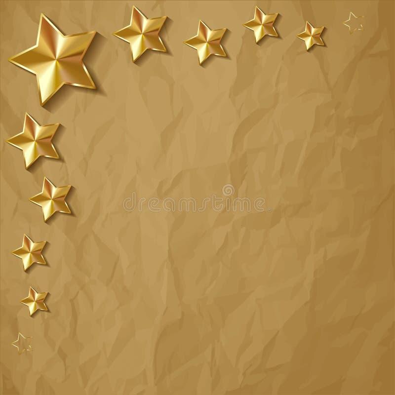 Vector иллюстрация звезд золота сияющих в угле на скомканной бумажной коричневой предпосылке иллюстрация вектора
