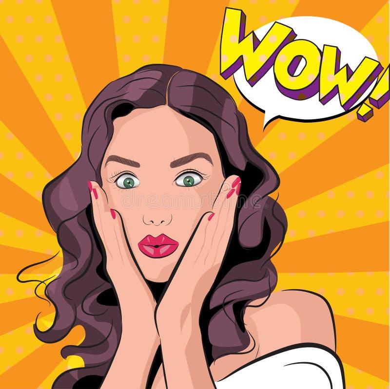 Vector иллюстрация изумленных женщины или девушки иллюстрация штока