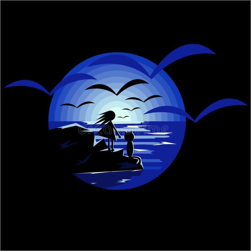 Vector иллюстрация используя отрицательную девушку космоса при кот смотря луну иллюстрация вектора