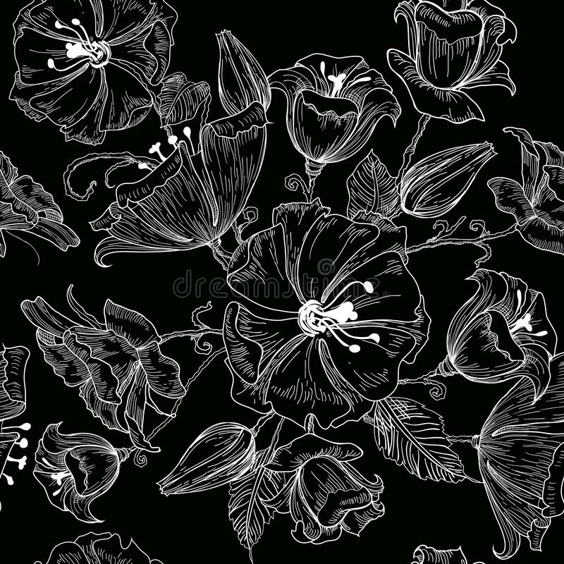 Vector иллюстрация картины красивых цветков безшовной на черной предпосылке эскиз иллюстрация вектора