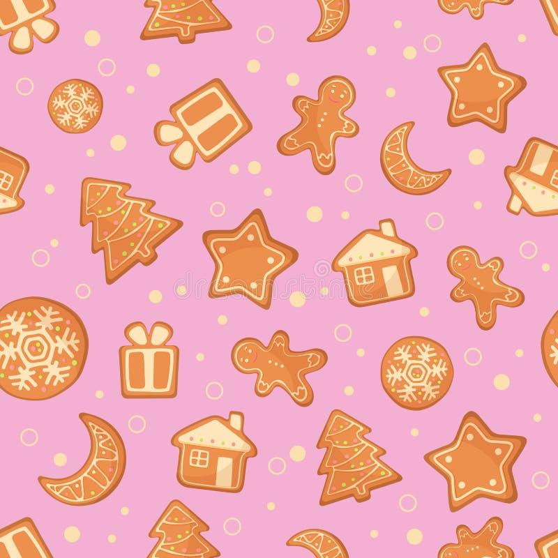 Vector иллюстрация картины печений пряника рождества безшовной Печенья имбиря на розовой предпосылке иллюстрация вектора