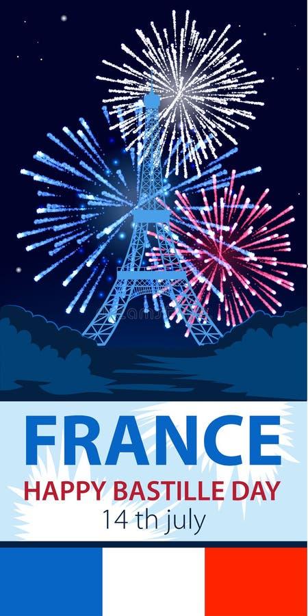 Vector иллюстрация, карточка, знамя или плакат на французский национальный праздник Счастливый день Бастилии иллюстрация вектора