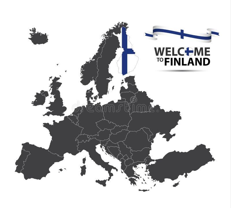 Vector иллюстрация карты Европы с положением Финляндии бесплатная иллюстрация