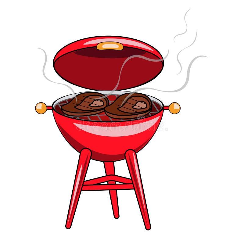 Vector иллюстрация красного гриля с зажаренными стейками мяса на w иллюстрация вектора