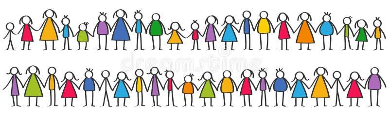 Vector иллюстрация красочного мужчины и женских диаграмм ручки, детей стоя в строках держа руки иллюстрация вектора