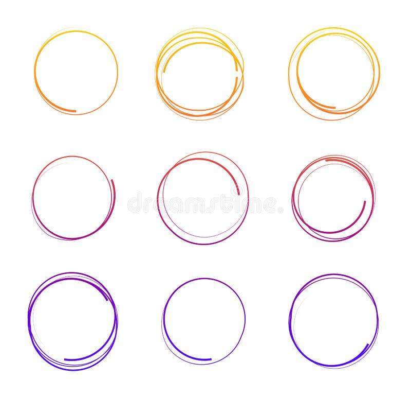 Vector иллюстрация кругов нарисованных рукой красочных, круглых рамок комплектом crayon изолированным на белой предпосылке иллюстрация вектора