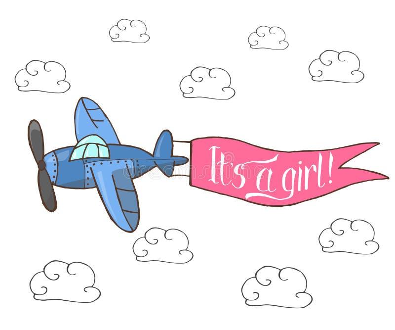 Vector иллюстрация, летание сини плоское в небе иллюстрация вектора