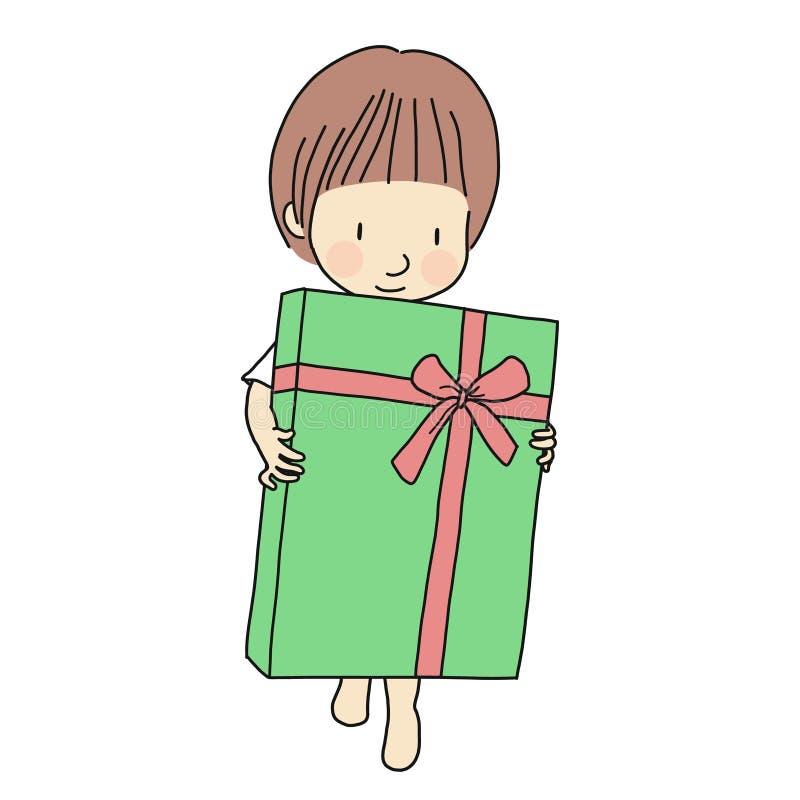 Vector иллюстрация маленького ребенка держа большую подарочную коробку с лентой Концепция семьи - с днем рождения, счастливый Нов бесплатная иллюстрация