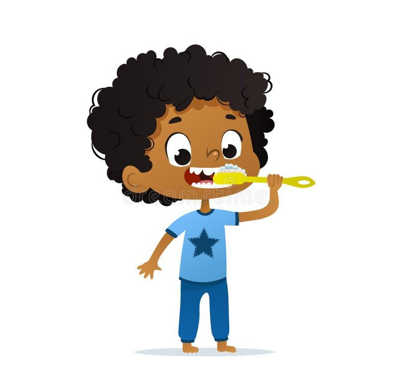 Vector иллюстрация мальчика ребенк милого детского сада Афро-американского чистя его зубы щеткой Гигиена утра для изолировано бесплатная иллюстрация