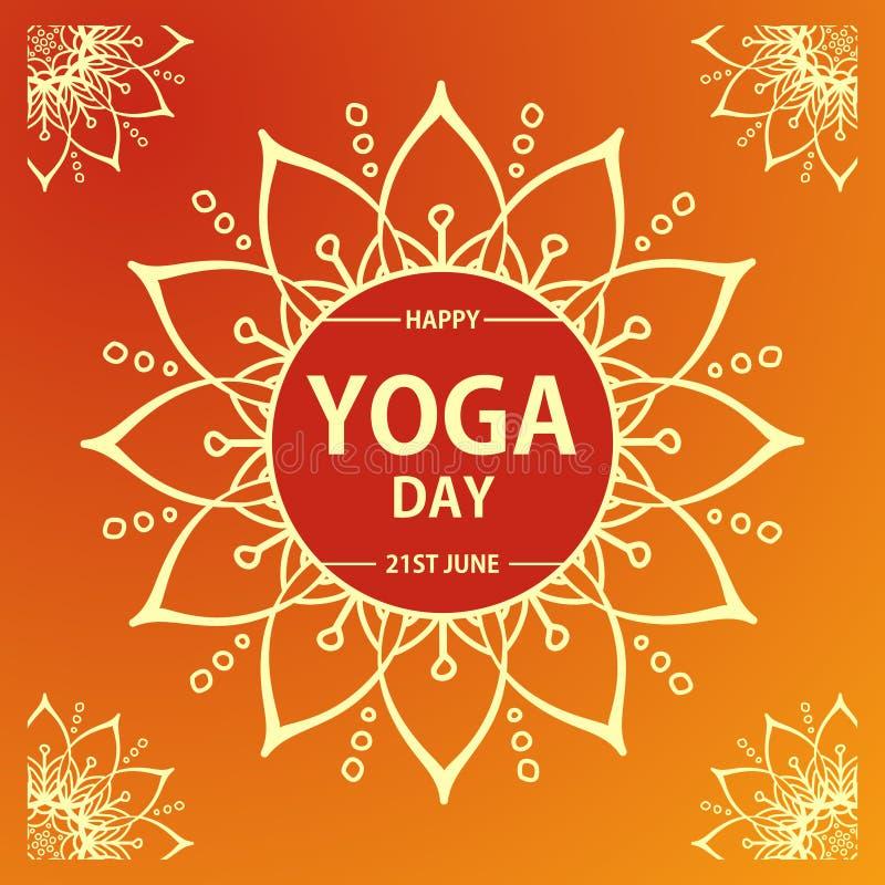 Vector иллюстрация международного дня йоги на красной предпосылке бесплатная иллюстрация