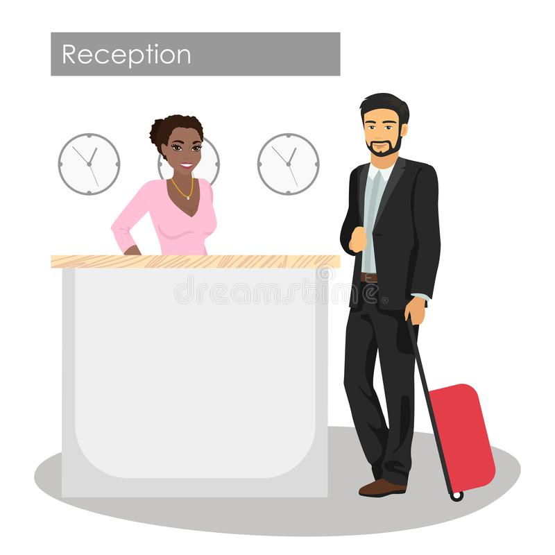 Vector иллюстрация менеджера и клиента на приемной гостиницы Консьерж-сервис Прибытие человека или проверяет внутри на лобби иллюстрация вектора