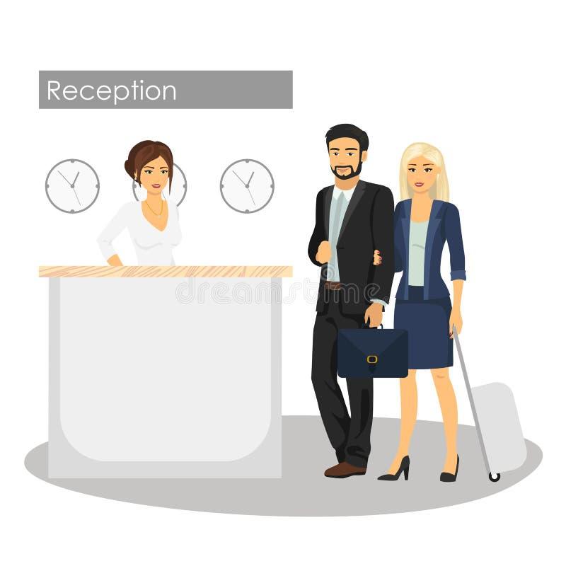 Vector иллюстрация менеджера и клиента на приемной гостиницы Консьерж-сервис Человек и прибытие или проверка женщины иллюстрация штока
