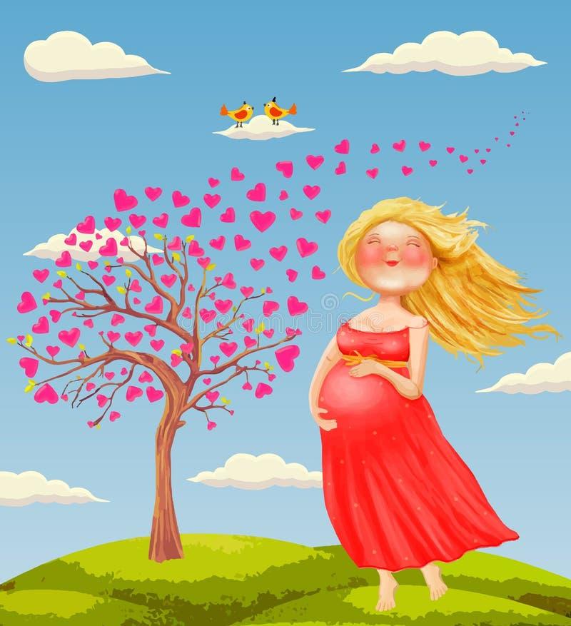 Vector иллюстрация молодого красивого беременного белокурого wom бесплатная иллюстрация